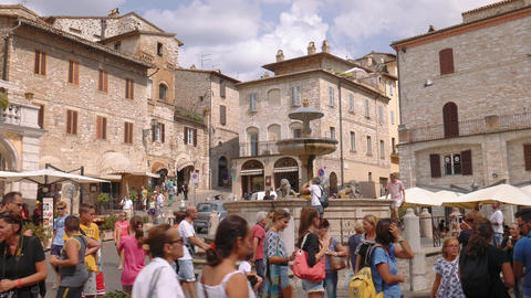 Assisi Fountain and medieval houses, Umbria, Italy Footage