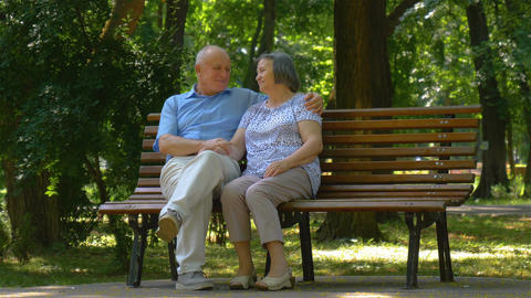 Senior couple relaxed talking on the park bench Footage
