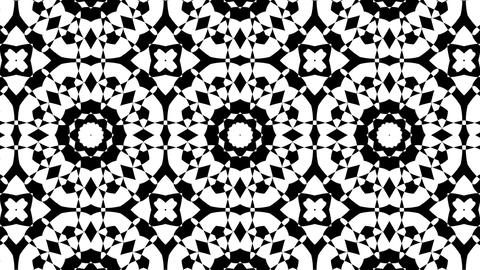 Black And White BW Intricate Kaleidoscope Pattern Motion Background Loop 2 Animation