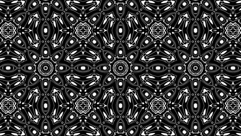 Black And White BW Intricate Kaleidoscope Pattern Motion Background Loop 3 Animation