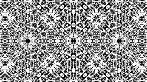 Black And White BW Intricate Kaleidoscope Pattern Motion Background Loop 4 Animation