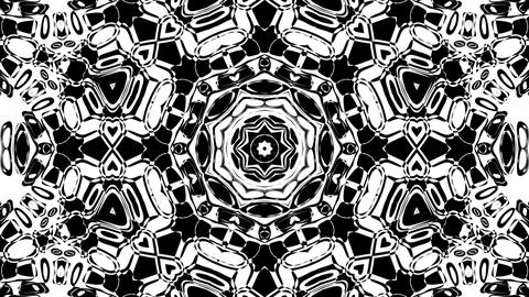 Black And White BW Intricate Kaleidoscope Pattern Motion Background Loop 6 Animation