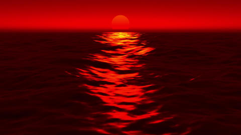 Red Sunset Sea Waves Reflection Motion Background Loop 1 CG動画素材