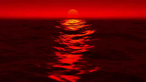 Red Sunset Sea Waves Reflection Motion Background Loop 2 CG動画素材