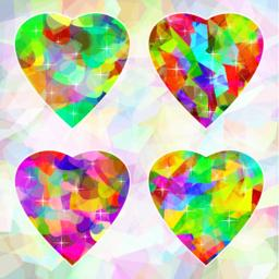 Multicolored abstract hearts on background ベクター