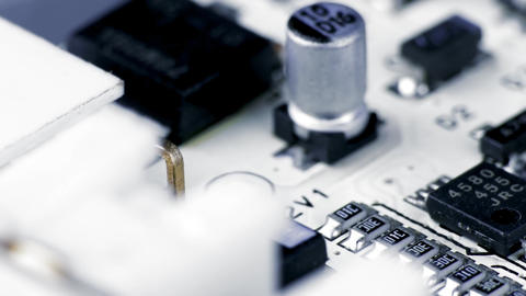 4K Rotating White Printed Circuit Board, Microprocessors, Capacitors and Audio Footage