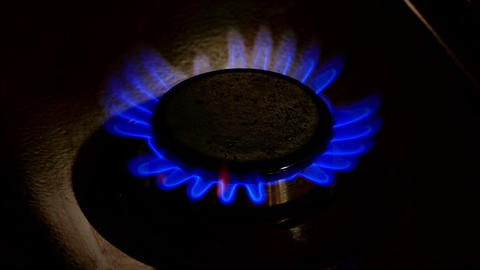 1080p Burner Plate of Gas Stove Is Lit With Blue Flame Throughout The Footage