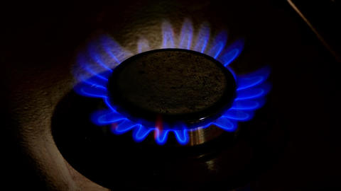 4K Burner Plate of Gas Stove Is Lit With Blue Flame Throughout Entire Footage