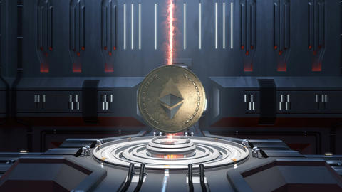 Etherium cryptocurrency in digital cyberspace. Financial or social background an Animation