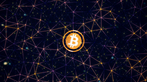 Bitcoin cryptocurrency in digital cyberspace. Financial or social background Archivo