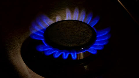 1080p Gas-Plate Burner Turns on and Continues to Burn With Blue Flame Footage