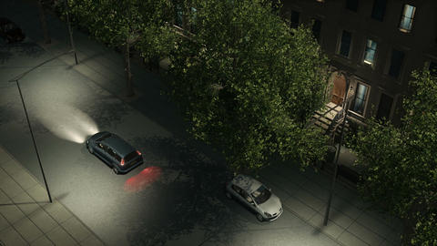 Night city street with residential buildings and cars Animation