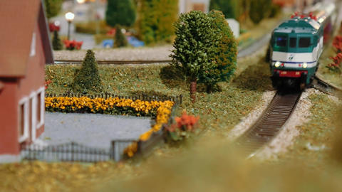 Model train passing by on a diorama Footage
