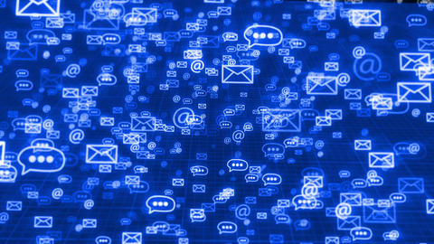 Glow sms, email and chat icons on a blue backdrop Animation