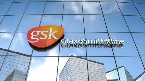 Editorial GlaxoSmithKlein logo on glass building Animation