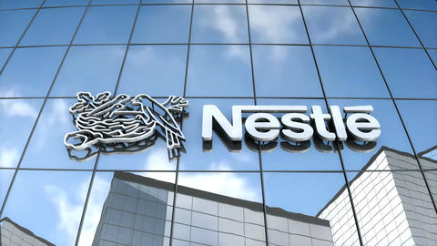 Editorial Nestle logo on glass building Animation