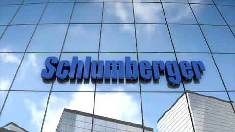 Editorial Schlumberger logo on glass building Animation