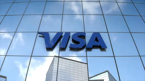 Editorial VISA logo on glass building Animation