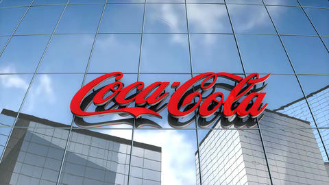 Editorial Cocacola logo on glass building Animation