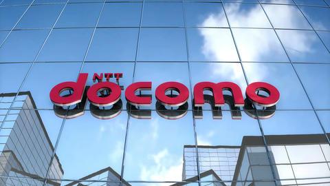Editorial Docomo logo on glass building Animation