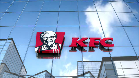 Editorial KFC logo on glass building Animation