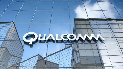 Editorial Qualcomm logo on glass building Animation