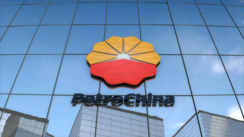 Editorial PetroChina logo on glass building, Stock Animation