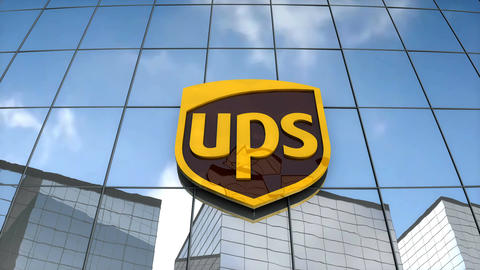 Editorial United Parcel Service logo on glass building Animation