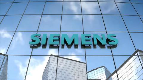 Editorial SIEMENS logo on glass building Animation