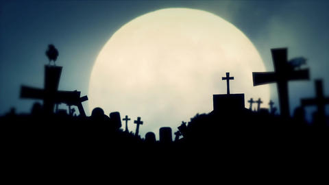 Creepy Cemetery with Full Moon and Ravens in Halloween Spirit Image