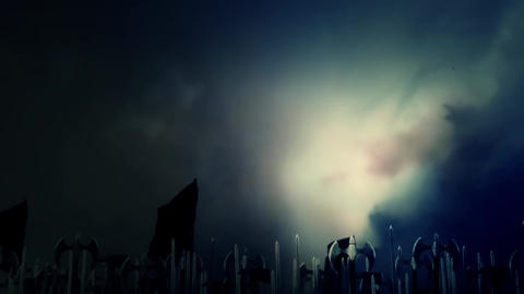 Big Medieval Army of Soldiers March To Battle Under A Lightning Storm Footage