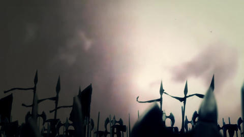 Big Medieval Army Marching To War Under A Lightning Storm Footage