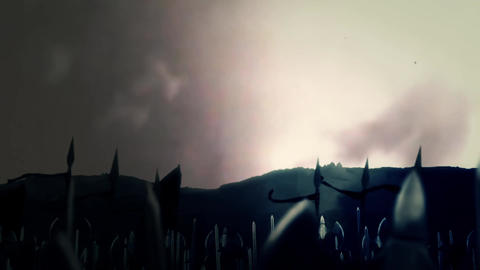 Big Medieval Army of Orcs Marching To War Under A Lightning Storm Footage