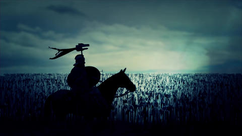Roman Cavalry Soldier Seating on His Horse In Front of a Massive Army Live Action
