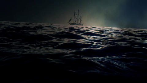 A Sailing Ship In A Middle Of A Big Storm Footage