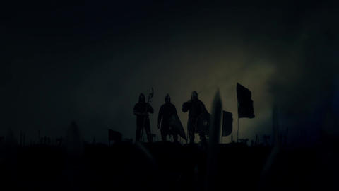 Victorious Medieval Nights Around Their Motivated Army Getting Wild Applause Und Footage