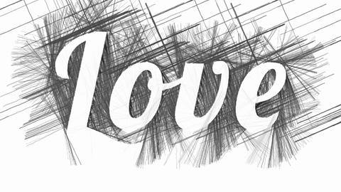 Word Love on abstract hatched background Animation