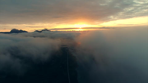 Midnight sun above the clouds Footage