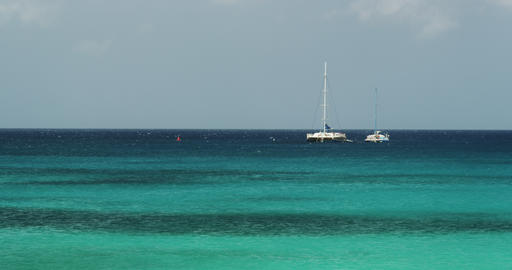 2 Sailing boats in the Ocean Footage