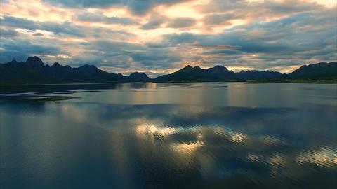 Evening scenery on Vesteralen islands in Norway Footage