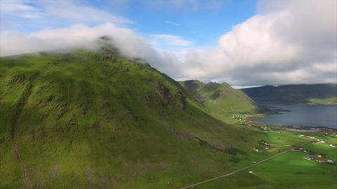 Aerial view of farmland on Lofoten islands in Norway Footage