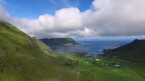 Farming village on Lofoten islands, aerial view Footage