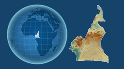 Cameroon and Globe. Relief Animation