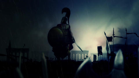 Victorious Greek Soldier with a Shield and a Sword Surrounded By Massive Army Un Footage