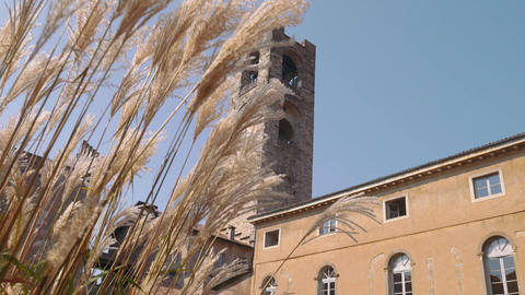 Dolly shot of Bergamo civic tower Live Action