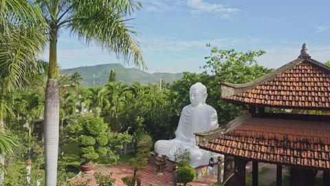 Flycam Moves to Buddha Sculpture among Plants Buildings Footage