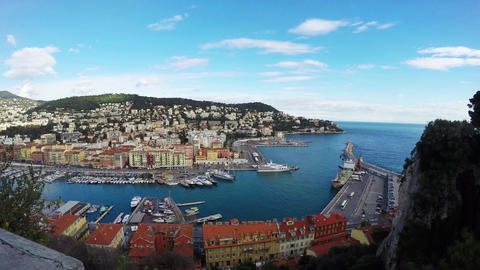 Panoramic view of Nice coastline and port with blue sky, France Animation