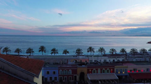 Time lapse of panoramic view of coastline and beach with old market in Nice, Cot Animation