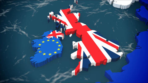 Map of United Kingdom leaving Europe, next to Ireland. With EU and UK flags, 3D, Footage