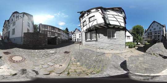 360VR video of Timber frame houses in Monschau, Germany Live Action